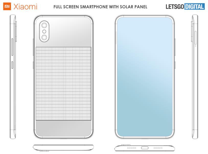 Le immagini dello smartphone con pannello solare brevettato da Xiaomi