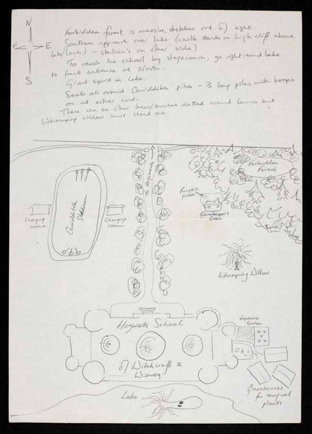 Primo piano di una pagina di appunti di J.K. Rowling per il primo libro di Harry Potter