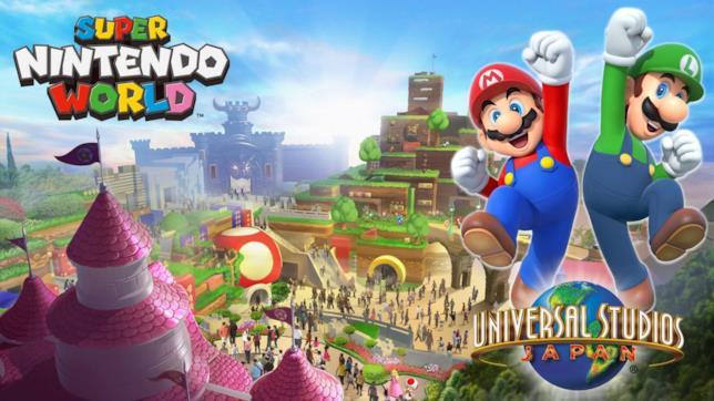 Mario e Luigi di fronte a una boza del Super Nintendo World