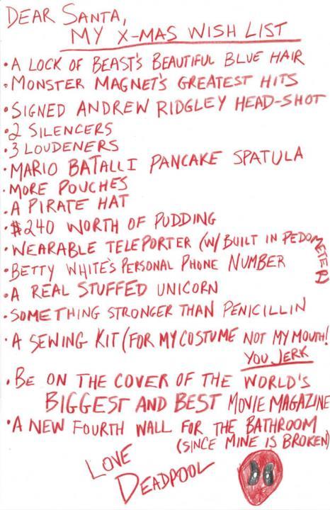 La lista dei regali di Natale scritta da Deadpool