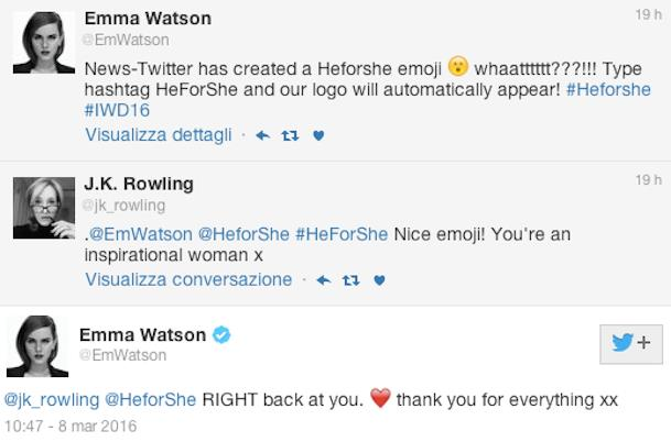 La conversazione su Twitter tra Emma Watson e J.K. Rowling