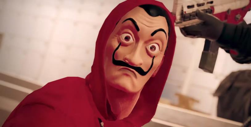 L'ostaggio con la maschera di Salvador Dalì utilizzata in La Casa di Carta