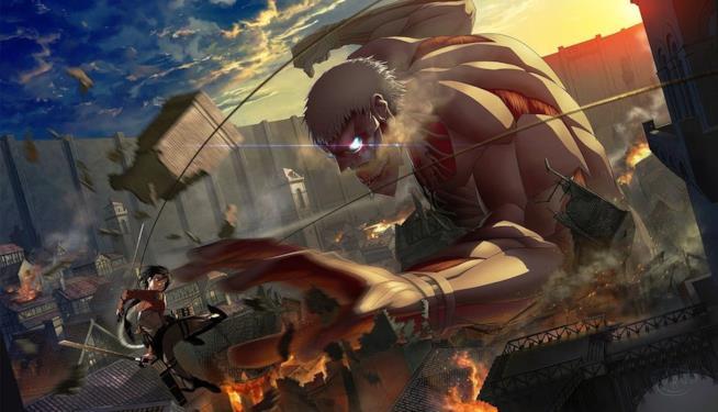 Un feroce combattimento dall'anime Attack on Titan 2