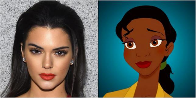 Un collage con i volti di Kendall Jenner e Tiana de La principessa e il ranocchio