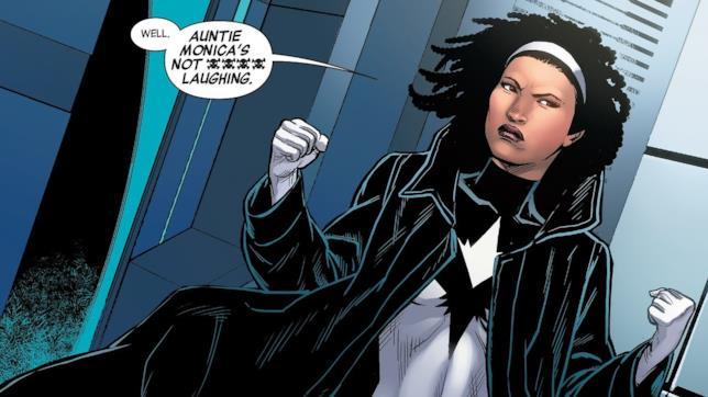 Il personaggio di Photon in una tavola dei fumetti Marvel