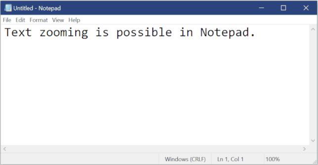 GIF Microsoft che mostra come fare zoom sul testo per l'applicazione Blocco Note