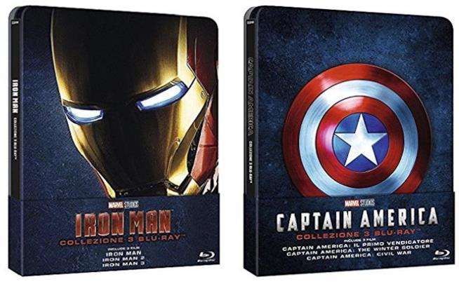 Copertine dei Blu-ray Iron Man e Captain America