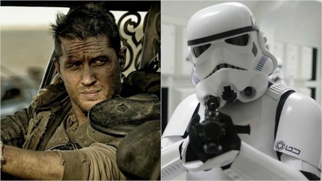 Tom Hardy accanto ad uno Stormtrooper