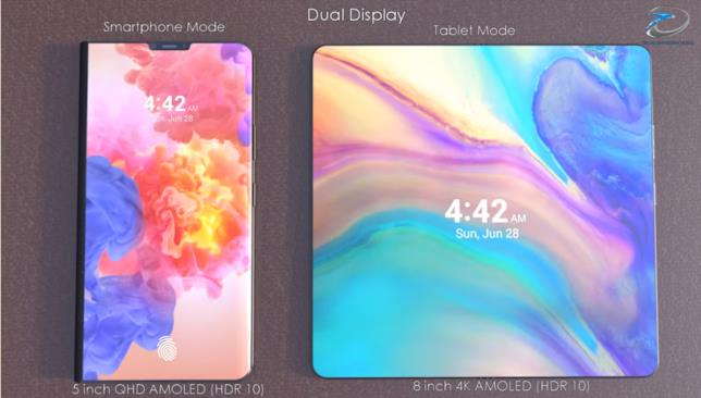 Un concept di Huawei Mate X, immaginato sia in modalità smartphone che tablet