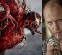 A sinistra il villain Carnage, a destra il celebre attore Woody Harrelson