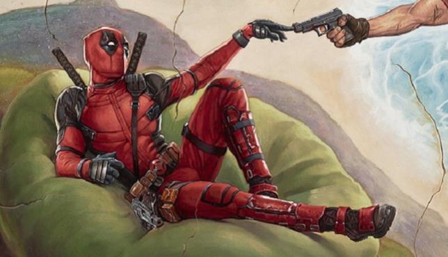 Il caritatevole Deadpool in posa divina