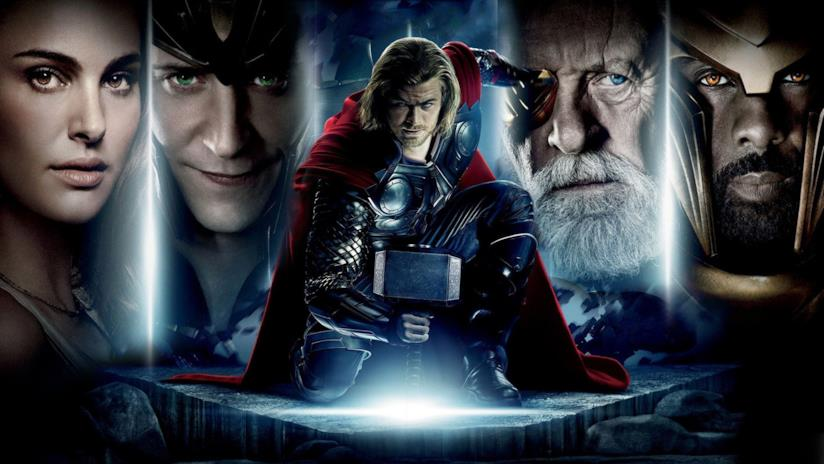 Thor e i volti dei protagonisti in un banner promozionale del primo film