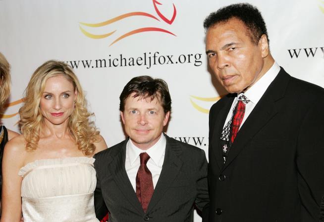 Michael J. Fox con la moglie e Muhammad Ali