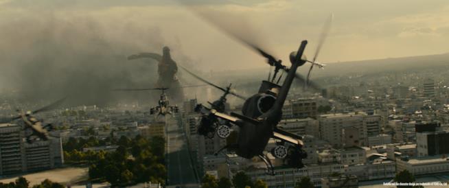 Gli elicotteri in formazione fronteggiano Shin Godzilla