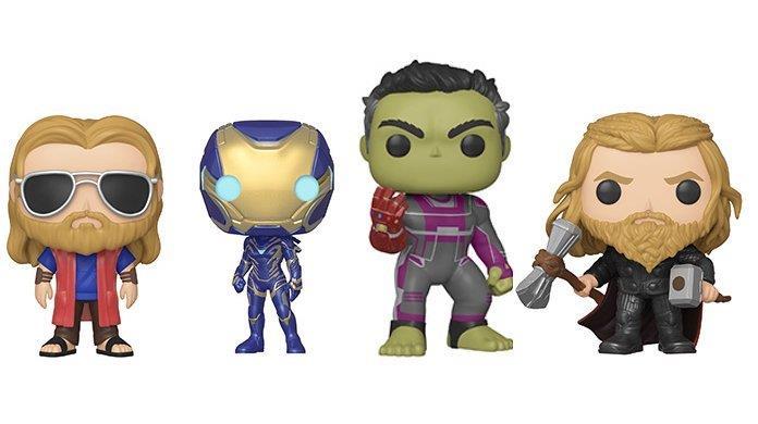 """I Funko Pop! di Thor in versione """"Lebowski"""" e in versione da combattimento insieme a Hulk che indossa il Guanto dell'Infinito e a Pepper con la tuta da Rescue"""