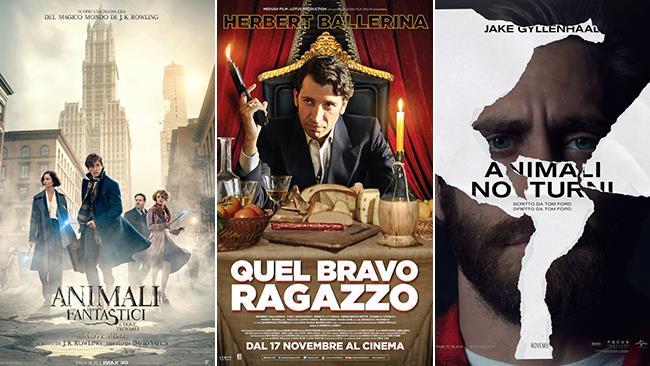 I poster dei film Animali Fantastici e Dove Trovarli, Quel Bravo Ragazzo, Animali Notturni