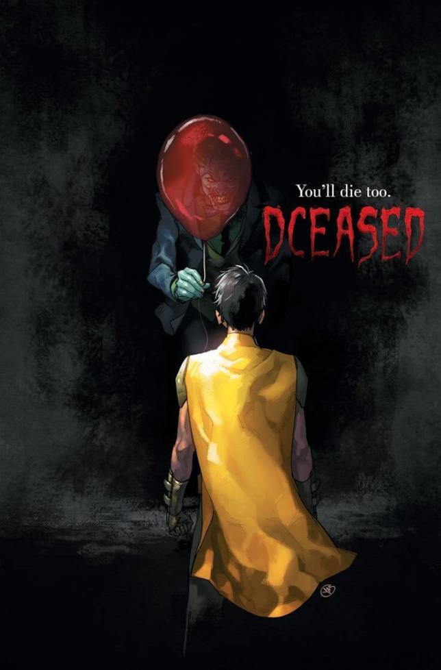 Robin, di spalle, guarda il Joker in penombra che gli offre un pallocino rosso, nella variant cover disegnata da Yasmine Putri
