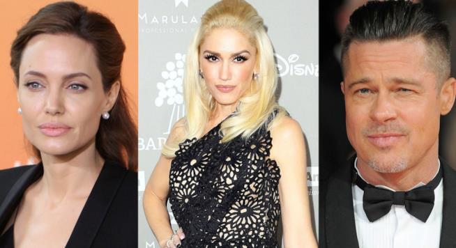 Primo piano di Gwen Stefani, Angelina Jolie e Brad Pitt