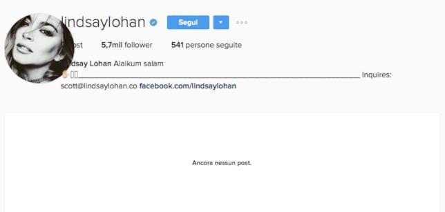 Il profilo Instagram di Lindsay Lohan