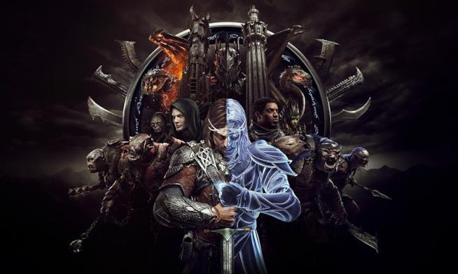 Tutti i personaggi de La Terra di Mezzo: L'Ombra della Guerra posano sul banner ufficiale del gioco