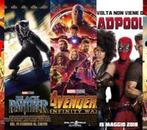 I poster de Gli Incredibili 2, Black Panther, Avengers, Deadpool 2, Spider-Man: Un nuovo universo