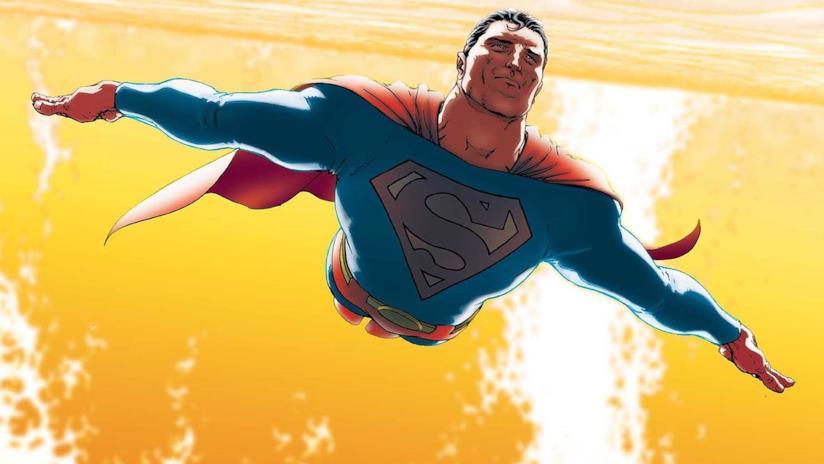 Superman in volo attorno al sole