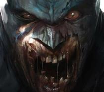Primo piano di Batman in versione zombie