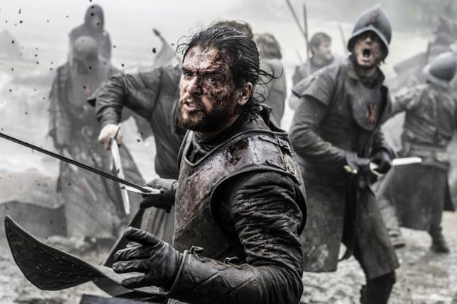 Kit Harington nella Battaglia dei Bastardi in Game of Thrones