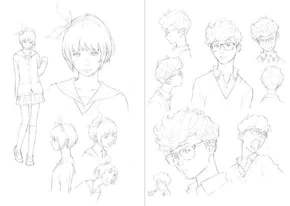 Gli schizzi preparatori di Eisaku Kubonouchi ritraggono Kiki e Tombo come liceali