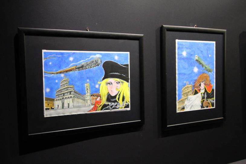 Due illustrazionia coloro di Leiji Matsumoto a Lucca 2018