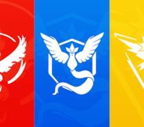 I loghi dei tre team di Pokémon GO