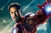 Un primo piano di Tony Stark/Iron Man nel poster di The Avengers