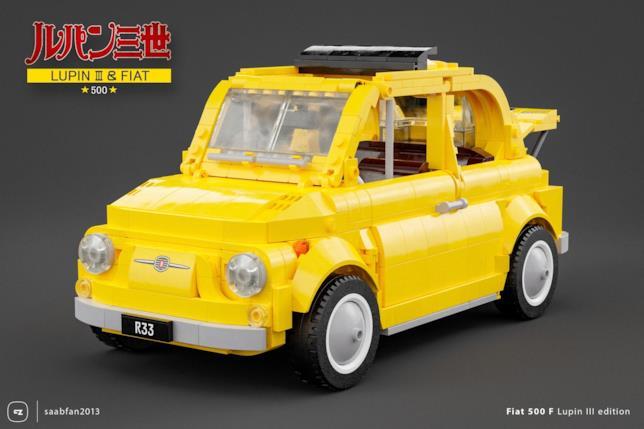 LEGO: frontale del set Fiat 500 F di Lupin III