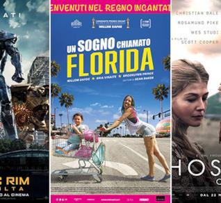 I poster dei film Pacific Rim - La rivolta, Un sogno chiamato Florida e Hostiles - Ostili