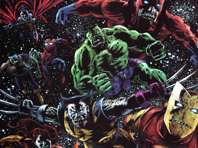 Una tavola dei fumetti della mini-serie Marvel Zombies