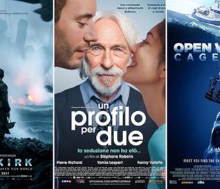 I poster di Dunkirk, Un Profilo per Due e Open Water 3 - Cage Dive