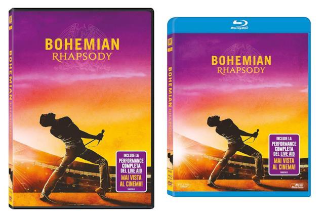 Confezioni del DVD e del Blu-ray di Bohemian Rhapsody
