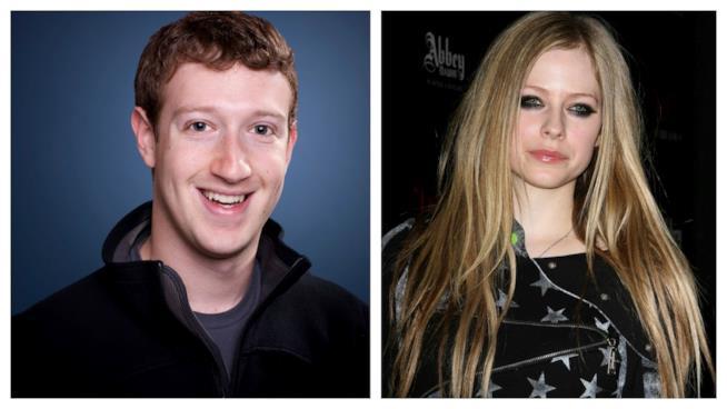 Primo piano di Avril Lavigne e Mark Zuckerberg