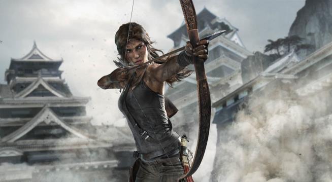Lara Croft armate di arco e frecce nel reboot di Tomb Raider