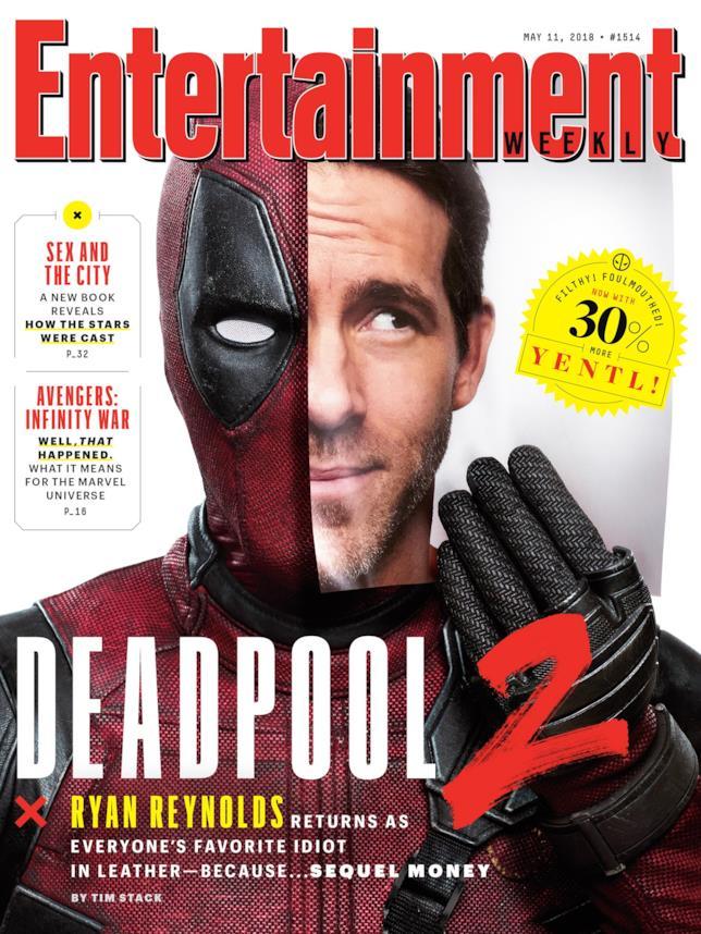 Ryan Reynolds e il suo alter ego Deadpool in posa per la copertina di EW