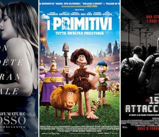 I poster dei film Cinquanta sfumature di rosso, I primitivi, Ore 15:17 - Attacco al treno