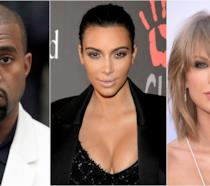 Primo piano di Kim Kardashian, Kanye West e Taylor Swift