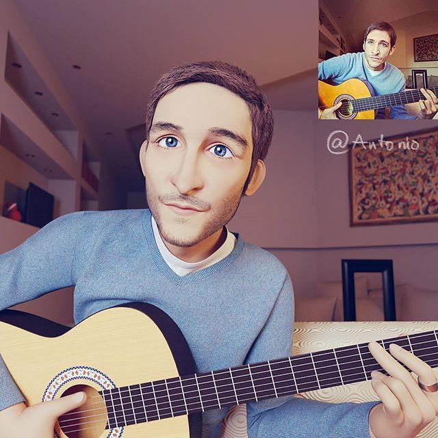 Antonio con la chitarra in Pixar