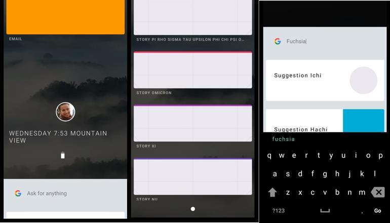 Una schermata del prossimo Google Fuchsia