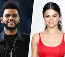 Un collage di The Weeknd e Selena Gomez