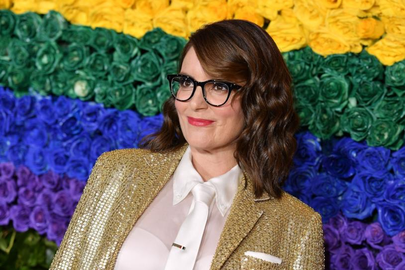 Tina Fey vestita d'oro