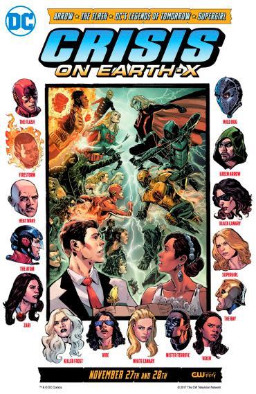 La copertina di Crisis on Earth-X con tutti i supereroi nella variante buona e cattiva