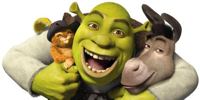 Shrek abbraccia il Gatto e Ciuchino