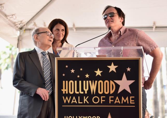 Ennio Morricone e Quentin Tarantino alla cerimonia per l'assegnazione dell stella sulla Walk of Fame al compositore