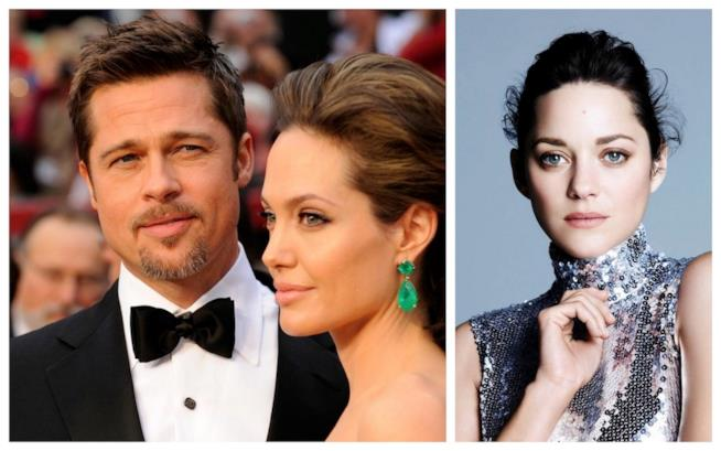 Primo piano di Brad Pitt, Angelina Jolie e Marion Cotillard